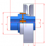 Acoplamiento elástico con polea de freno :: UNE Acoflex AP Series