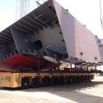 SPMT sincronizados para mover secciones de barco :: DTA