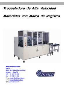 CAR-12y25. Troqueladora de Alta Velocidad Materiales con Marca de Registro.