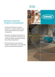 Catálogo TENNANT S10. Barredora industrial de conductor a pie