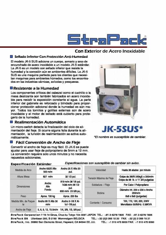 COMOSA STRAPP JK-5SUS. Flejadora semiautomática con exterior de acero inoxidable. 1