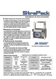 COMOSA STRAPP JK-5SUS. Flejadora semiautomática con exterior de acero inoxidable.