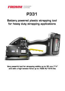 FROMM PH 331. Battery-powered strapping tool for plastic straps.