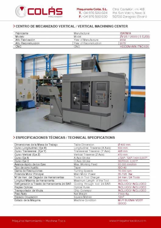 IBARMIA ZV-25 - U 600. Centro de mecanizao vertical. 1