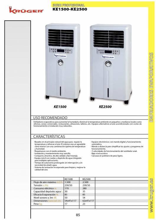 KE1500-KE2500. Enfriador evaporativo. 1