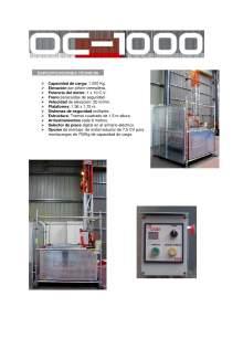 OGEI S-1000. Montacargas de fachada galvanizado