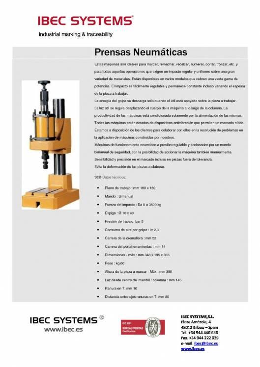 S2B. Prensa neumática para Marcar y Remachar. 1