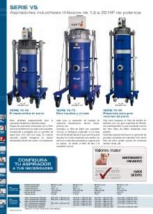 SERIE CR. Aspirador industrial equipado con contenedor reforzado independiente sistema de vaciado basculante.
