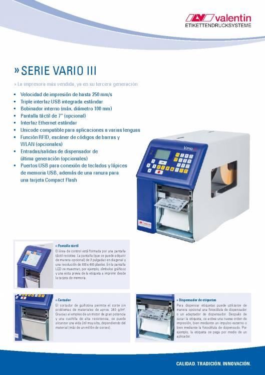 VALENTIN Vario III. Impresora de etiquetas 1
